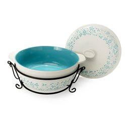 Cook's Companion Four-Piece Ceramic Oven-to-Table Casserole Set - Blue
