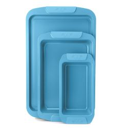 Cook's Companion 3Pcs Ceramic Bake/ Roast & Loaf Pan Set - Scuba Blue