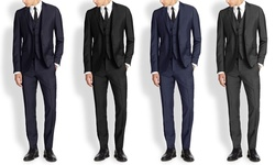Mario Rossi Men's Slim Fit 3pc Suits: Charcoal/46lx40w