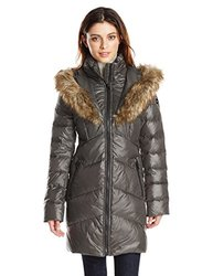 Kensie Coat: Down Chevron Quilted With Heart Shape Faux Fur-black/small