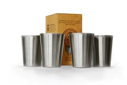 Best Kid Toddler Baby Steel Cups, Sanitary Rimless Design, Dent-proof Training Learner Water Cup, 18/8 Steel, 8 Oz 4 Pack