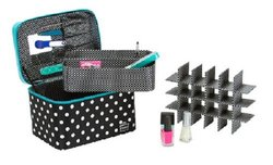Caboodles Gilded Pleasure Nail Valet with White Polka Dots - Black