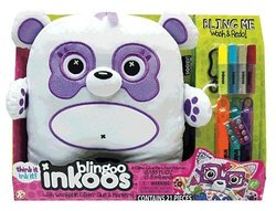 Large Blingoo Inkoos Plush Panda Bear With Pens & Markers - White/Purple