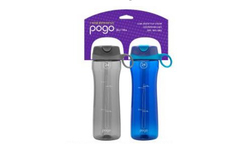 Tritan Plastic Water Bottle 2-Pack - Straw Lid - Blue/Grey - 24oz