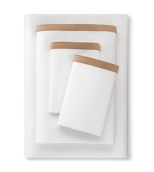 Fieldcrest Banded Hem Supima Sateen Sheet Set - Cream - Size: Cal King