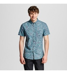 Mossimo Men's Palm Print Shirt - Navy Leaf - Size: Small