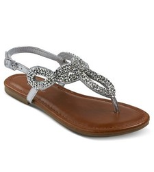 Cherokee Girl's Florence Thong Sandals - Silver - Size: 4