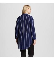 Perch Women's Stripe Woven Button Front Top - Blue Stripe - Size: 2X