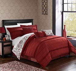 Rozelle Reversible Paisley Floral Comforter Set: King/brick (7-piece)