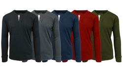 Men's Slub Henley Shirts: Charcoal - Medium