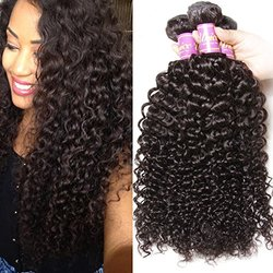 Brazilian Curly Virgin Hair Weave 3 Bundles Unprocessed Human Hair Extensions Natural Color Can Be Dyed and Bleached Tangle Free (10 12 14inches)