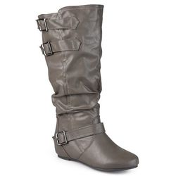 Journee Collection Womens Wide-Calf Buckle Detail Boots - Grey - Size: 10