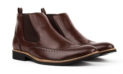 Royal Men's Brogue Wing-Tip Boots - Coffee - Size: 13