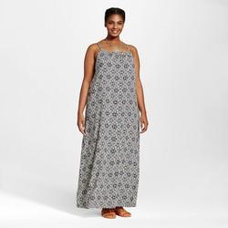 Ava & Viv Women's Plus Size Challis Maxi Dress - Black and White - Size:2X