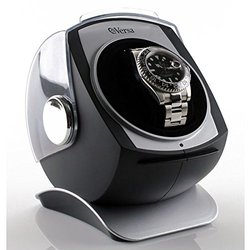 Versa Plastic Built-in Timer and LED-Indicator Automatic Single Watch Winder with Sliding Cover and Power Adapter