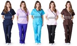 Natural Uniforms Women's Contrast Mock Wrap Scrub Set - Black - Size: XS