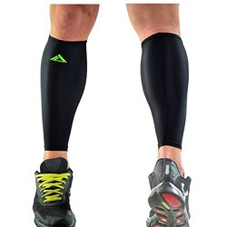 Myprosupports Black Calf Compression Sleeve With Green Logo: Medium