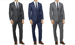 Slim-fit Sharskin Suit: Grey/40lx34w