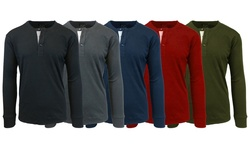 Men's Slub Henley Shirts: Charcoal - Large