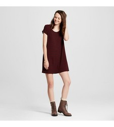 Mossimo Women's T-Shirt Dress - Crisp Berry Stripe - Size: Medium