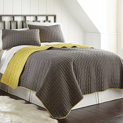 Single Stich Reversible Coverlet (3-pack): Chevron-steel Gray-bamboo/queen