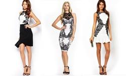 Leo Rosi Women's Kristen Bodycon Dress - Black/White - Size: Medium
