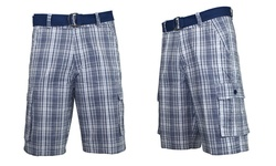 Galaxy by Harvic Men's Belted Plaid Cargo Shorts - Navy- Size: 36