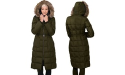 Kensie Women's Maxi Long Down Coat with Raccoon Faux Fur - Olive - Size: M