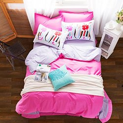 Homehug count Bright Candy Color Duvet Cover Sets - Dark Pink - Full size