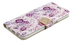 Samsung Galaxy S6 Edge PLUS Fresh Purple Flowers Diamante MyJacket Wallet