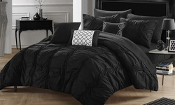 10 Piece Morn Comforter Set: Queen/black