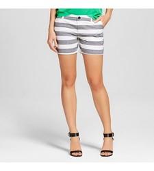 "Merona Women's Striped 5"" Chino Shorts - Black & White - Size: 12"