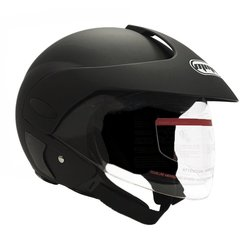 Scooter Parts Motorcycle Open Face Helmet - Matte Black - Size: Large