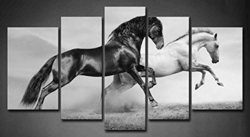 Firstwallart 5 Panel Wall Art - Black And White Horses