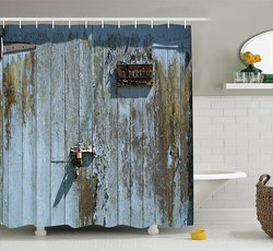 "Decor Collection Bathroom Shower Curtain Set - Blue Khaki - 69"" x 75"""