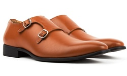 Royal Men's Monk Strap Dress Shoes - Light Brown - Size: 11