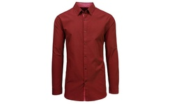 Slim Solid & Printed Long Sleeve Shirts - Burgundy - Size: Medium
