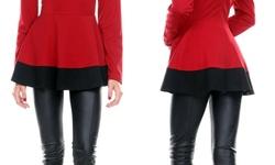 Women's Long-Sleeve Colorblock Peplum Top - Red - Size: Medium