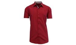 Men's Slim Fit Short Sleeve Button Downs - Red/Black - Size: Medium