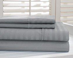Hotel New York 800tc Dobby Stripe Sheet Sets: Platinum/queen