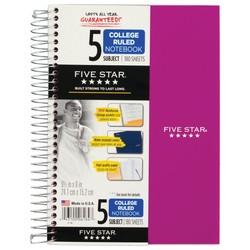 Five Star Wirebound Notebook - 5 Sub 180ct CR - Purple