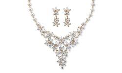 Palm Beach 56.58 TCW Cubic Zirconia Flower Motif Jewelry Set 14k Gold Plt