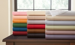 Hotel New York 4Pcs Cotton Sateen Sheet Sets - Burgundy - Size: Full
