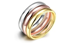 Jewelry Elements Women's Stainless Steel Stackable Bands Ring - Size: 6
