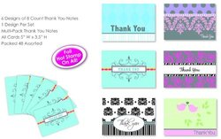 "Paper Greeting Cards Thank You Notes 2 Pack with Envelopes - Size: 5""x3.5"""