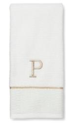 """Threshold Classic """"P"""" Monogram Hand Towel - White/Gold"""