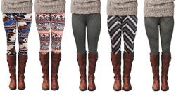 Womens Fashion Leggings: Black/grey- Small Chevron Print