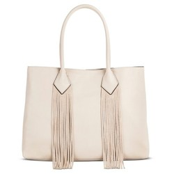 Merona Women's Faux Leather Solid Suede Fringe Tote Handbag - Creme