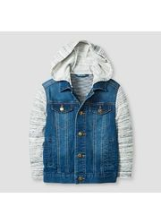 Genuine Kids Boys' Hoodie Jeans Jacket - Blue - Size: 6X