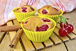 Borealis Baking Premium Silicone Baking Cups - 24 Reusable Cupcake Liners / Muffin Cups in 8 Beautiful Colors Includes a Silicone Pastry Bag w/5 Tips and Recipe eBook